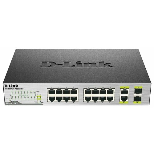 Коммутатор D-link DES-1018MP/A1 коммутатор d link des 1018mp a1a неуправляемый 16 портов 10 100mbps 2хcombo poe