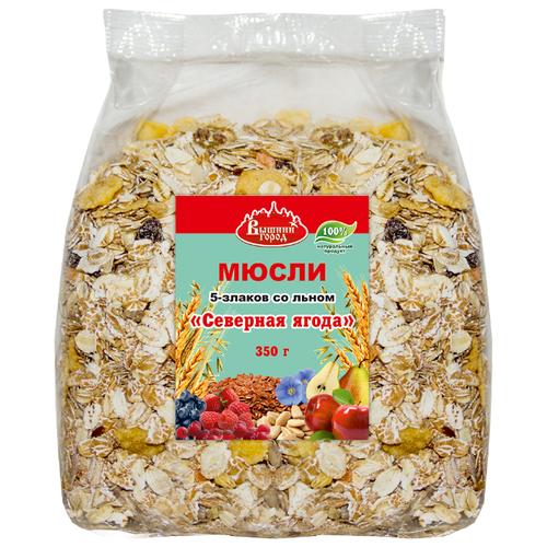 Мюсли Вышний город хлопья 5-злаков со льном «Северная ягода», пакет, 350 г
