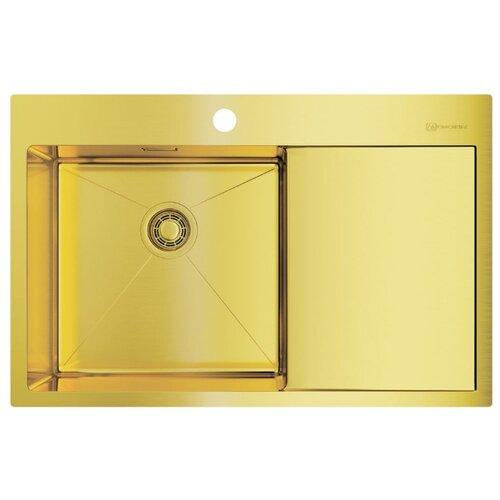 Врезная кухонная мойка 78 см OMOIKIRI Akisame 78-LG-L светлое золото врезная кухонная мойка 65 см omoikiri akisame 65 lg r светлое золото