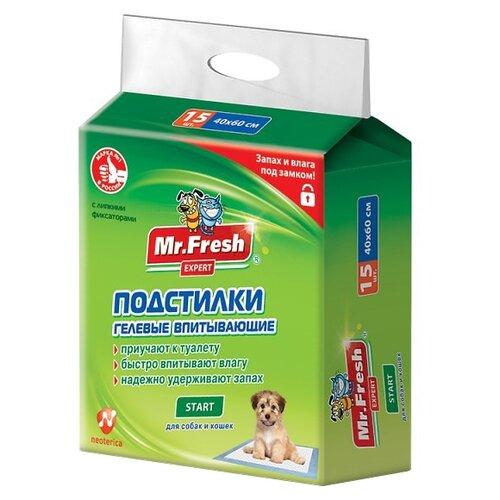 Пеленки для щенков впитывающие Mr. Fresh Expert Start F504 60х40 см 15 шт. пеленки для щенков многоразовые впитывающие zooone 6040m 60х40 см бордовый