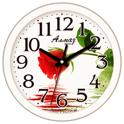 Часы настенные кварцевые Алмаз B35 белый часы настенные кварцевые алмаз p12 золотистый белый