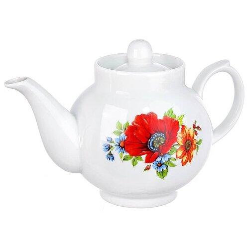 Дулёвский фарфор Заварочный чайник Рубин 700 мл полевой мак