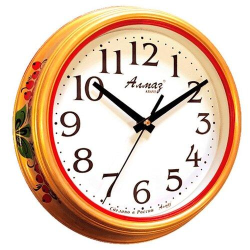 Часы настенные кварцевые Алмаз C04-C10 золотой/белый часы настенные кварцевые алмаз c04 c10 бежевый с рисунком белый