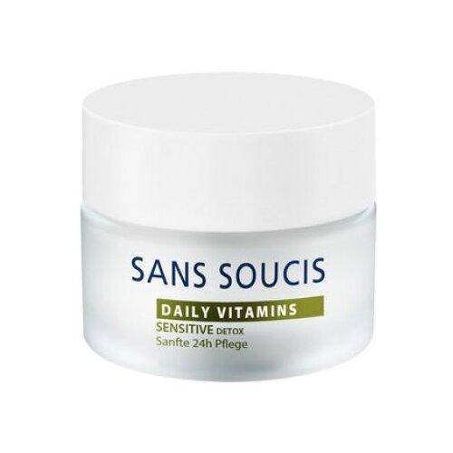 Sans Soucis Daily Vitamins Sensitive Detox Витаминизирующий детокс-крем 24 часа для лица, шеи и области декольте, 50 мл bioline витаминизирующий освежающий лосьон energy daily ritual 200 мл