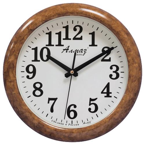 Часы настенные кварцевые Алмаз H24 светло-коричневый/белый