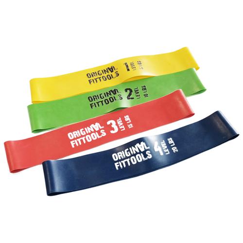 Эспандер лента 4 шт. Original FitTools FT-XLST 61 х 5 см зеленый/желтый/красный/синий