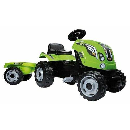 Веломобиль Smoby Трактор Claas XL с прицепом, зеленый