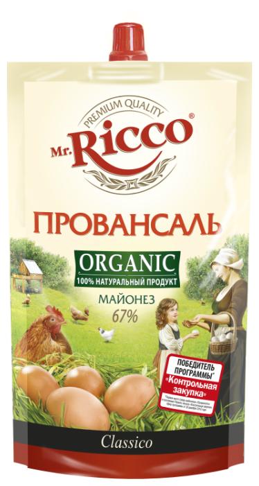 Майонез Mr.Ricco Organic Провансаль 67%, 400 г.