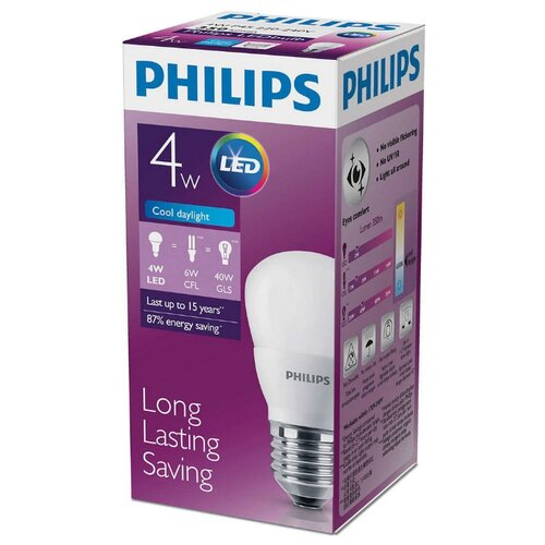 Лампа светодиодная Philips LED 6500K, E27, P45, 4Вт лампа светодиодная e27 4вт 220в 2200k 11681