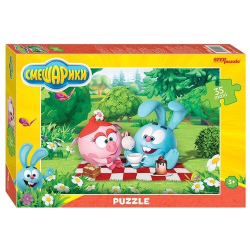 цена Пазл Step puzzle Крош и Нюша на пикнике, Смешарики (91236), 35 дет. онлайн в 2017 году