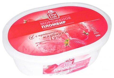 Мороженое Fine Life пломбир клубника 500 г