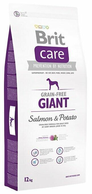 Корм для собак Brit Care для здоровья кожи и шерсти, лосось с картофелем 12 кг (для крупных пород)