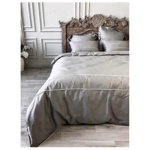 Постельное белье 1.5-спальное Bohemique studio Рошель сатин серыйКомплекты<br>