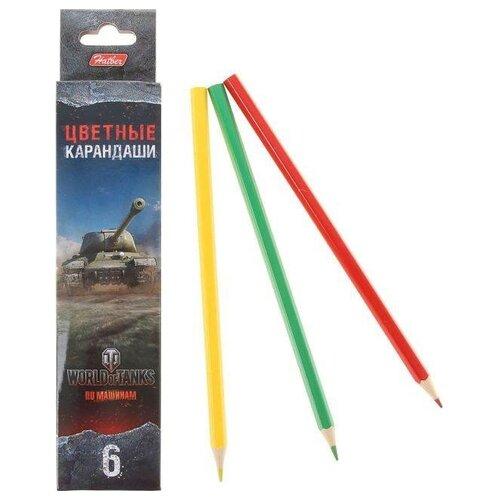 Купить Hatber Карандаши цветные World of tanks, 6 цветов (BKc_06460), Цветные карандаши