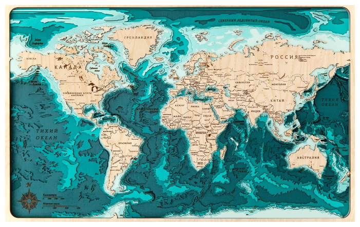 Панно ArtWood Planet Карта глубин Мир 60х40 см
