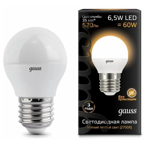 Лампа светодиодная gauss 105102107, E27, G45, 6.5Вт лампа светодиодная gauss 105802205 d e27 g45 5вт