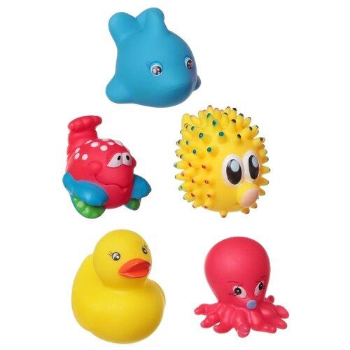 Купить Набор для ванной BONDIBON Морской еж, дельфин, утка, осьминог, краб (ВВ1401) красный/желтый/синий, Игрушки для ванной