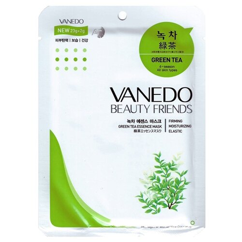Vanedo Green Tea Essence Mask Sheet Pack Маска для лица с зеленым чаем, 25 г маска deoproce color synergy effect sheet mask yellow green