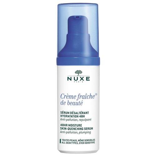 Nuxe Creme Fraiche de Beaute 48H Moisture Skin Quenching Serum Интенсивная увлажняющая сыворотка для лица, шеи и области декольте, 30 мл крем для ухода за кожей nuxe creme fraiche de beaute 48 часов увлажняющий 30 мл