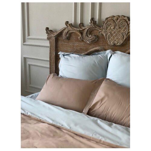 Постельное белье 1.5-спальное Bohemique studio Эвия сатин, 50 х 70 см голубой