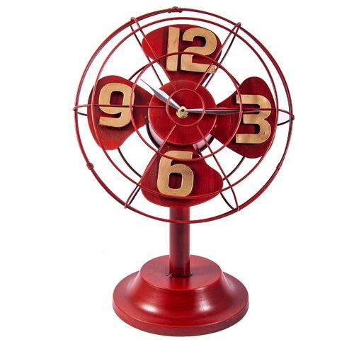 Часы настольные Русские подарки Ретро вентилятор красный