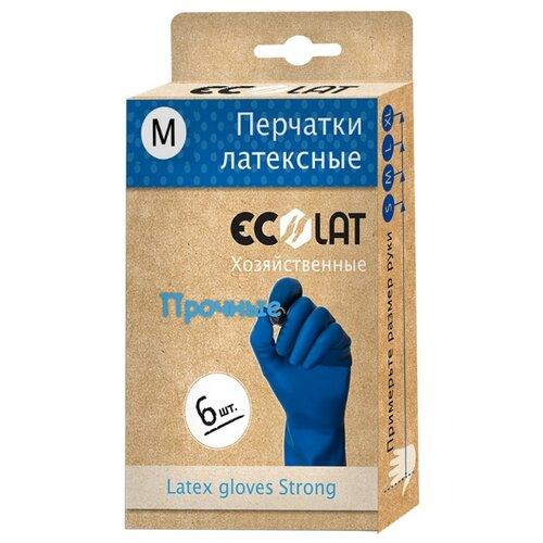 Перчатки Ecolat хозяйственные прочные, 3 пары, размер M, цвет синий