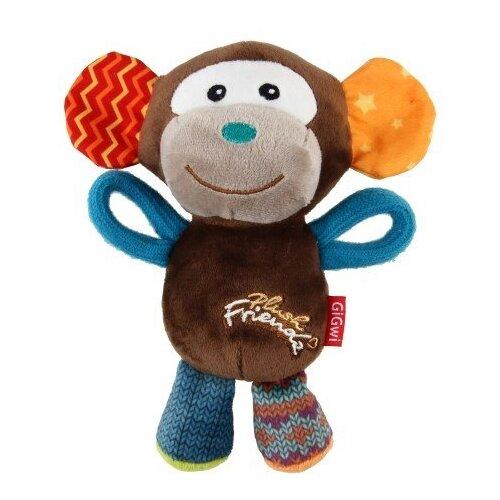 Игрушка для собак GiGwi Plush Friendz Обезьяна (75349) коричневый/синий/оранжевый игрушка для собак gigwi plush friendz белка 75309 коричневый бежевый