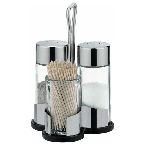 Tescoma Набор емкостей для соли, перца и зубочисток Club прозрачный/стальной vigar набор емкостей для соли и