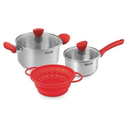 Набор посуды Rondell Breit RDS-1002 5 пр. красный/стальной набор посуды rondell rds 1003
