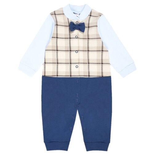 Купить Комбинезон Веселый Малыш размер 68, бежевый/синий, Комбинезоны