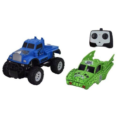 Купить Внедорожник Пламенный мотор Бигфут 2 в 1 (870502/870503) 20 см синий/зеленый, Радиоуправляемые игрушки