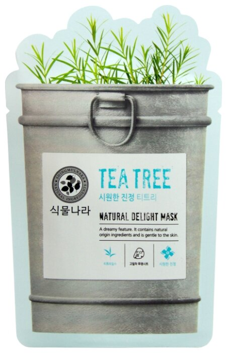 Shingmulnara Маска Natural Delight тканевая с маслом чайного дерева