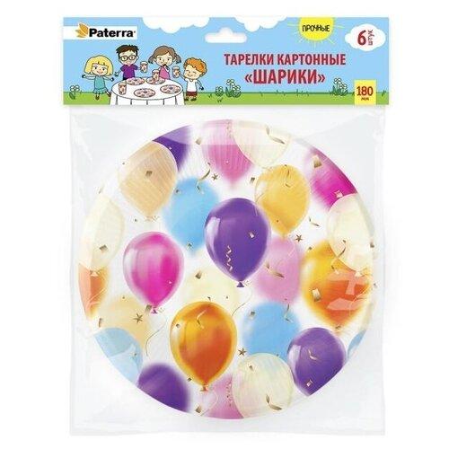 Paterra Тарелки одноразовые бумажные Шарики, 18 см, 6 шт., белый/фиолетовый тарелки бумажные paterra слоники 18 см