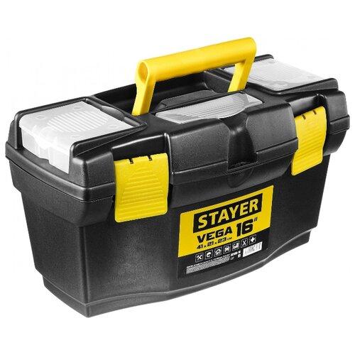 Ящик с органайзером STAYER Vega 38105-16_z03 41x21x23 см 16'' черный/желтый ящик с органайзером stanley mega line cantilever 1 92 911 49 5x26 1x26 5 см черный желтый