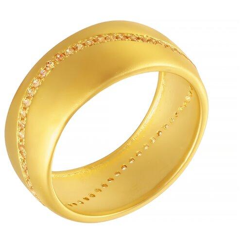 ELEMENT47 Широкое ювелирное кольцо из серебра 925 пробы с кубическим цирконием KTR-174-2_KO_001_YG, размер 16.5