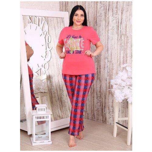 комплект домашний женский vienetta s secret цвет розовый 711026 5167 размер 3xl 54 Костюм женский Бариз+ 1229 размер 54 цвет ярко-розовый