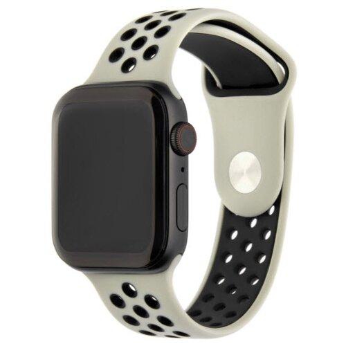 INTERSTEP Ремешок ACTION для Apple Watch 42/44 мм, силикон жемчуг/черныйРемешки для умных часов<br>