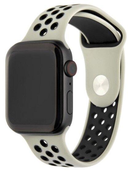 INTERSTEP Ремешок ACTION для Apple Watch 42/44 мм, силикон жемчуг/черный