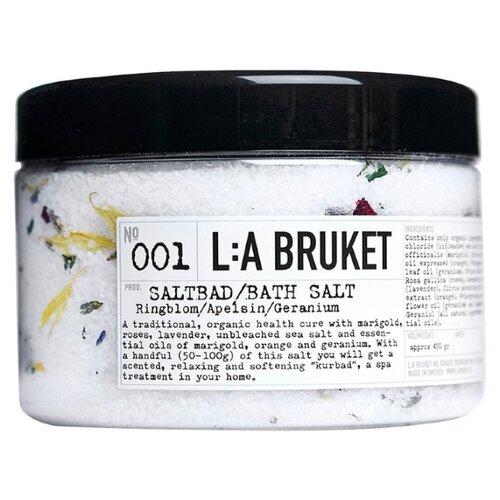 L:A BRUKET Соль для ванн Marigold/Orange/Geranium 001, 450 г  - Купить
