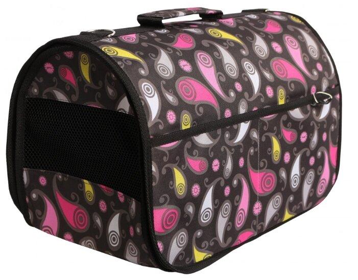 Переноска-сумка для собак Lion Lux L 47х30х31 см черный сердечки