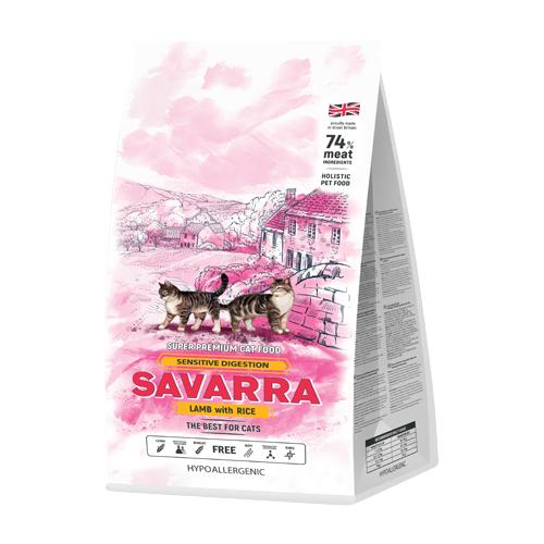 Фото - Сухой корм для кошек SAVARRA при чувствительном пищеварении, гипоаллергенный, с ягненком, с рисом 2 кг сухой корм для щенков savarra индейка с рисом 3 кг
