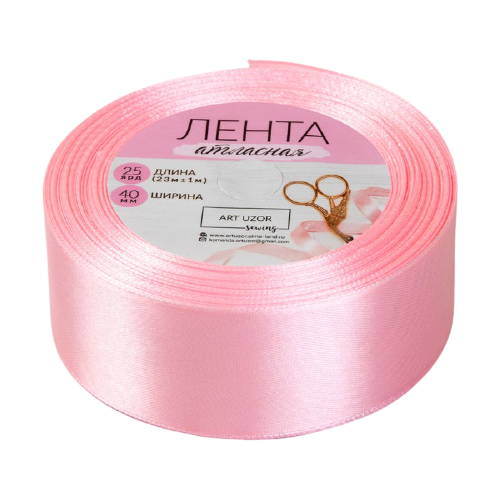 Купить Лента Арт Узор атласная 40 мм, 23 м 04 розовый, Декоративные элементы