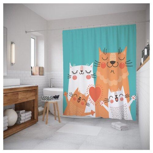Штора для ванной JoyArty Веселая кошачья семья 180x200 зеленый/оранжевый