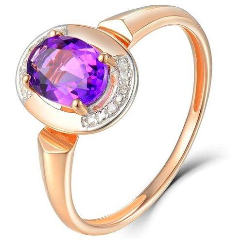 ЛУКАС Кольцо с аметистом и бриллиантами из красного золота R01-D-69022R001-R17, размер 16.5 фото