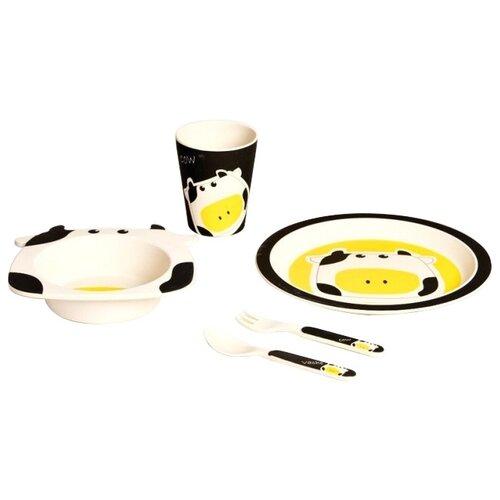Комплект посуды Eco Baby Буренка белый/черный/желтый