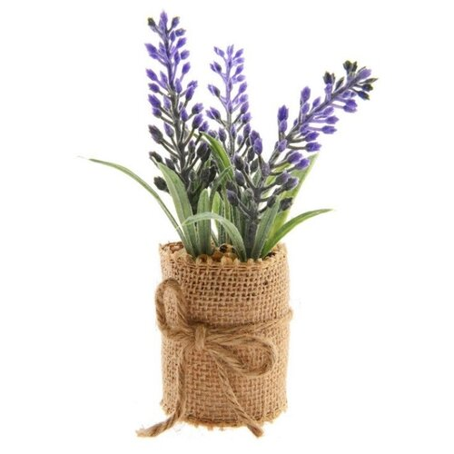 Элитные искусственные цветы ЛАВАНДА в джутовом кашпо, пластик, 5x12 см, Kaemingk 800658