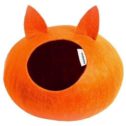 Домик для кошек, для собак Zoobaloo WoolPetHouse М с ушками 35х35х18 см оранжевыйЛежаки, домики, спальные места<br>