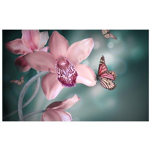 Купить Алмазная вышивка Яркие Грани Орхидеи и бабочки , размер 50х32 см, 51 цвет