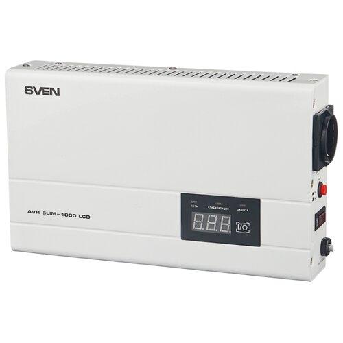 Стабилизатор напряжения однофазный SVEN AVR SLIM 1000 LCD (0.8 кВт)