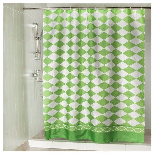 Штора для ванной Aquarius Ромбы YQL-X-090 180х200 зеленый